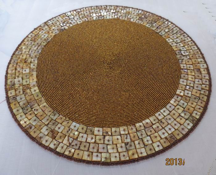 round placemats beaded accessories luxury handmade beads embroidery placemat shell placemat