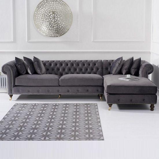 Nesta Chesterfield Right Corner Sofa In Grey Velvet images