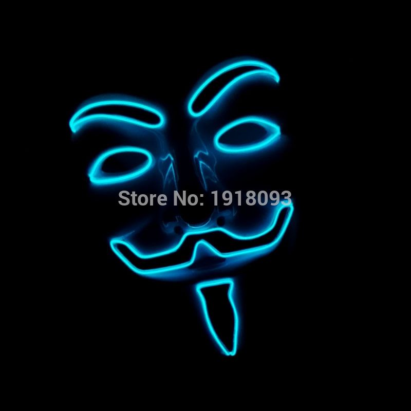NEW EL Wire Mask Fashion V Cosplay LED Strip MASK Costume Guy Fawkes ...