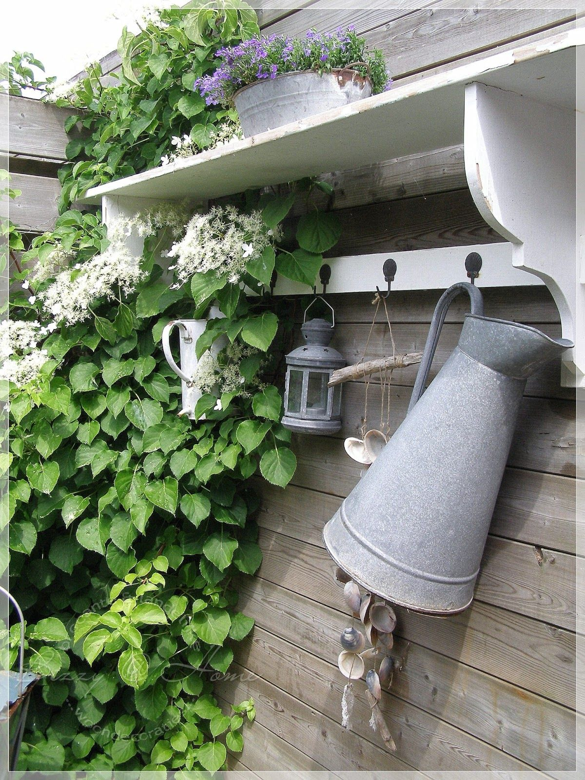 Garden decor trellis  Garden shelf and trellis Great idea for outdoor organization