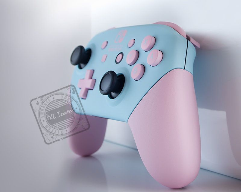Custom Baby Pastel Blue And Pink Nintendo Switch Pro Controller