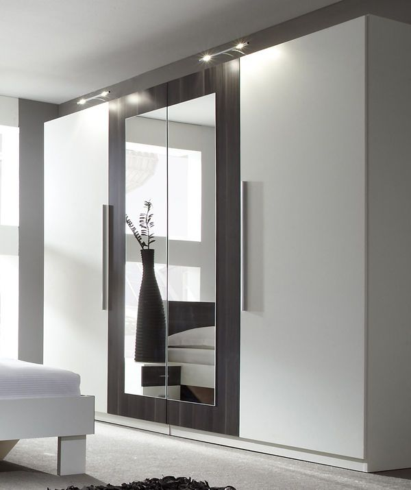 modern bedroom 4 doors wardrobe closet with mirror white / black