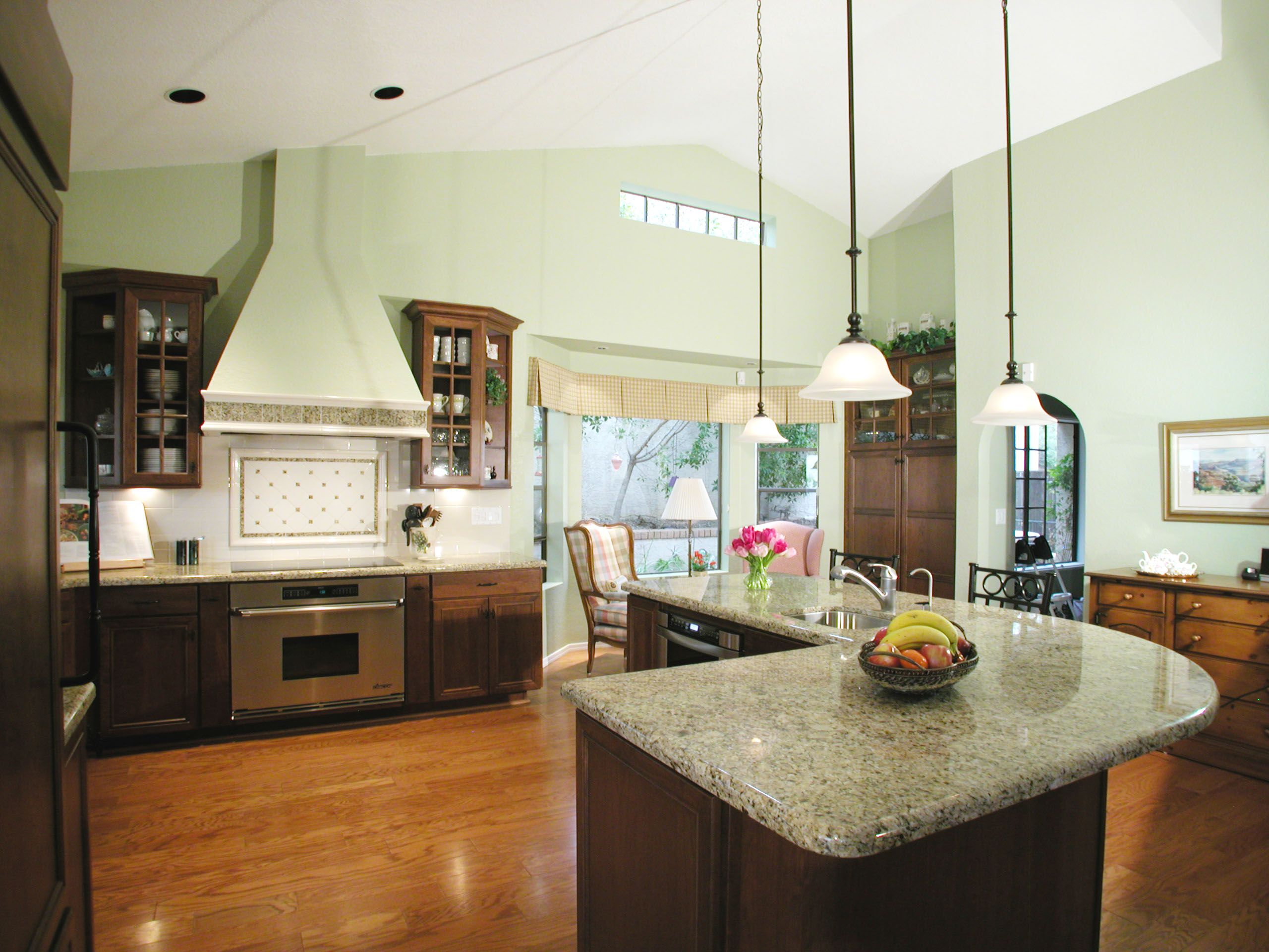 luxury kitchen island l shape design with cream granite countertop