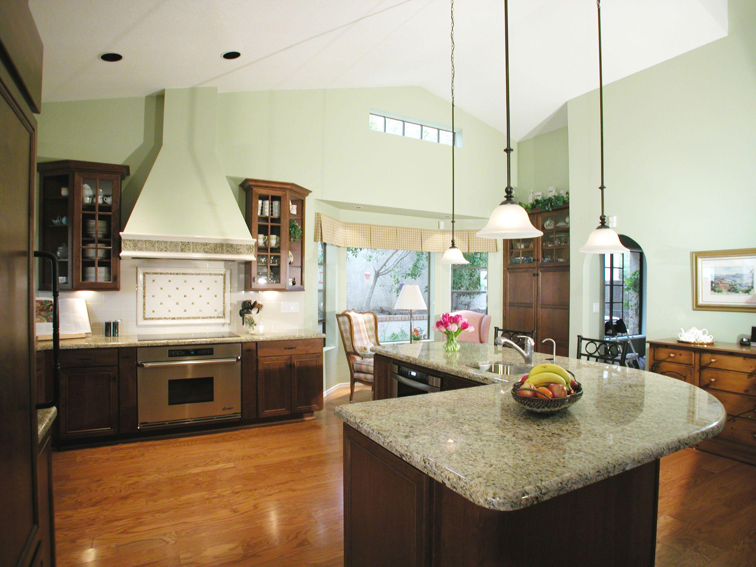 luxury kitchen island l shape design with cream granite countertop