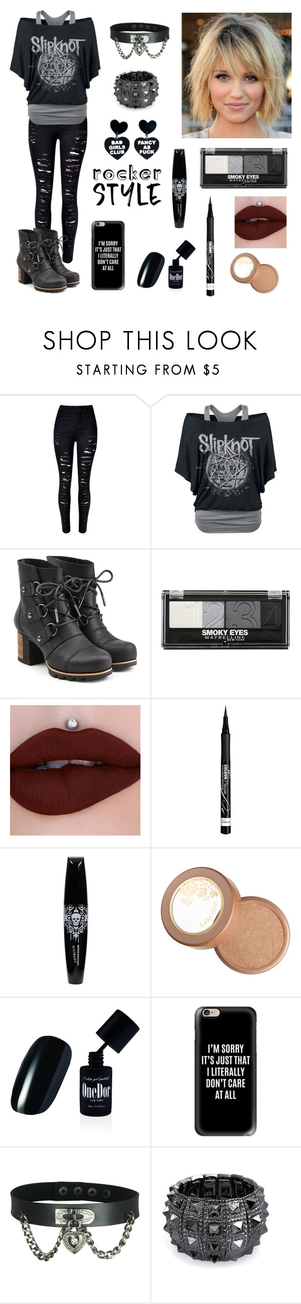 """""""Rocker Girl"""" by roseforbes ❤ liked on Polyvore featuring WithChic, SOREL, Maybelline, Rimmel, Lancôme, Casetify, Bling Jewelry, rockerchic and rockerstyle"""