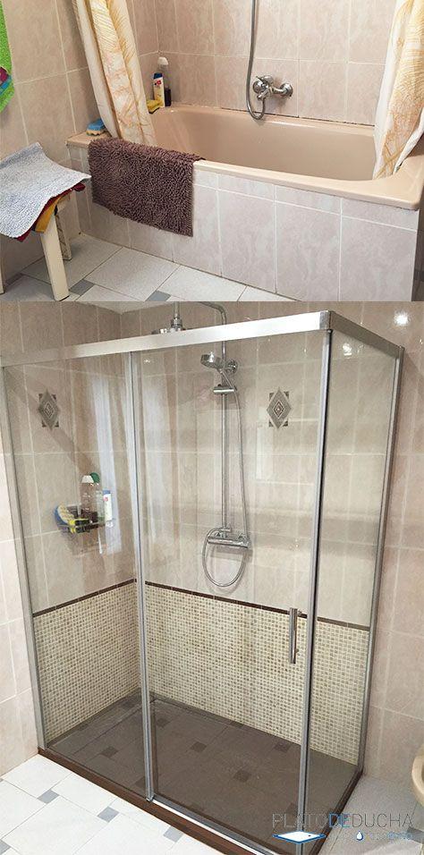 Cambios Que Son Sencillamente Espectaculares Muchas Veces Al Retirar La Antigua Bañera El Bañ Platos De Ducha Reforma Cuarto De Baño Cambio Bañera Por Ducha