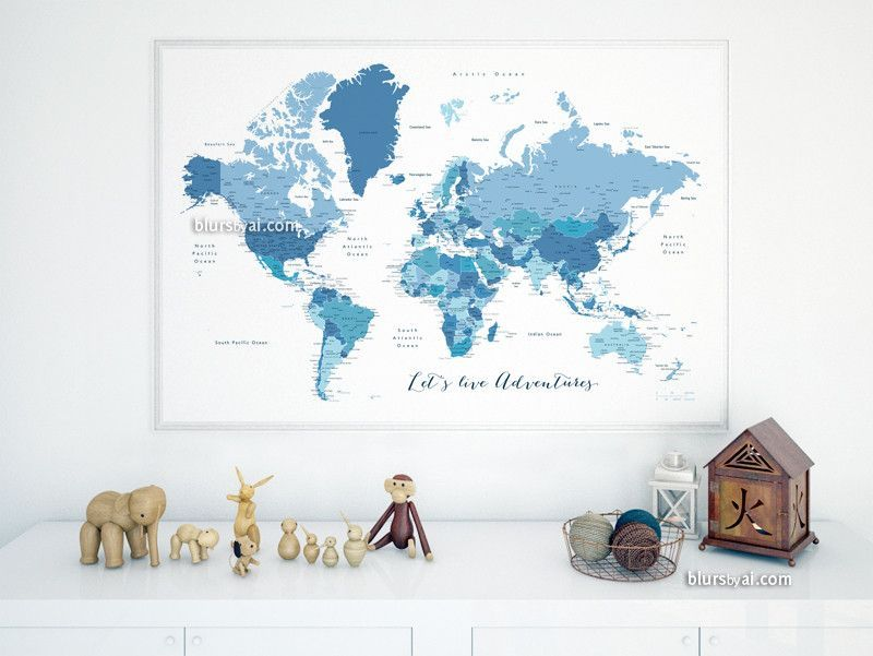 Custom quote printable world map with cities capitals countries custom quote printable world map with cities capitals countries us states labeled shades of blue map ethan gumiabroncs Gallery
