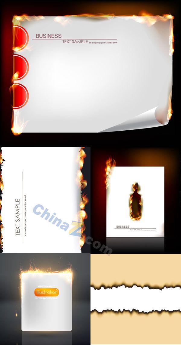 Burning flames paper vector material