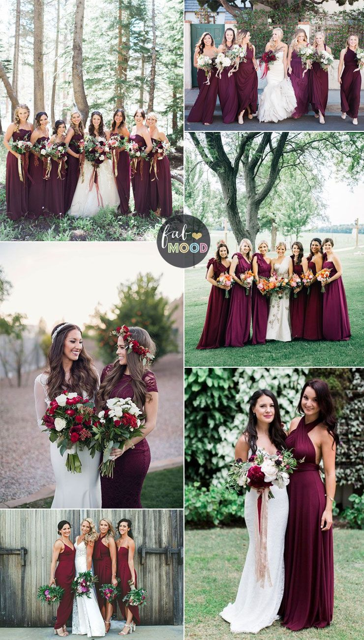 b884cca066 Burgundy bridesmaid dresses have been popular for autumn wedding. A  burgundy bridesmaid dress can actually take on a lot of different..mismatch  bridesmaid