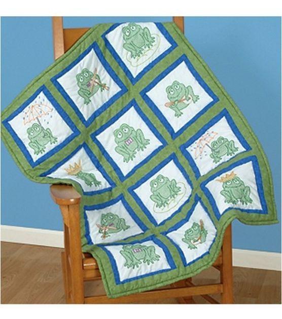 Jack Dempsey Themed Stamped White Quilt Blocks - Frogs - Yarn ... : jack dempsey cross stitch quilt blocks - Adamdwight.com