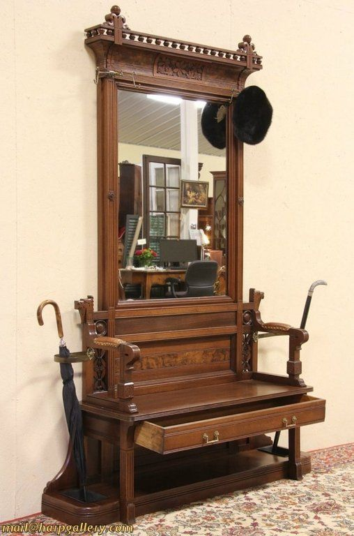 Eastlake 1875 Antique Hall Bench Stand Amp Mirror Love The