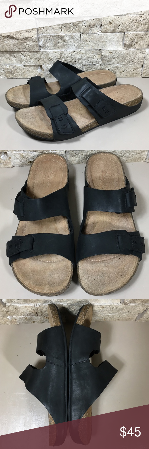 9dee745c5cf Clarks Sandal Black Leather Slip On Perri Island Clarks Artisan Perri Island  sandal black nubuck leather slip on mule slide sandals.