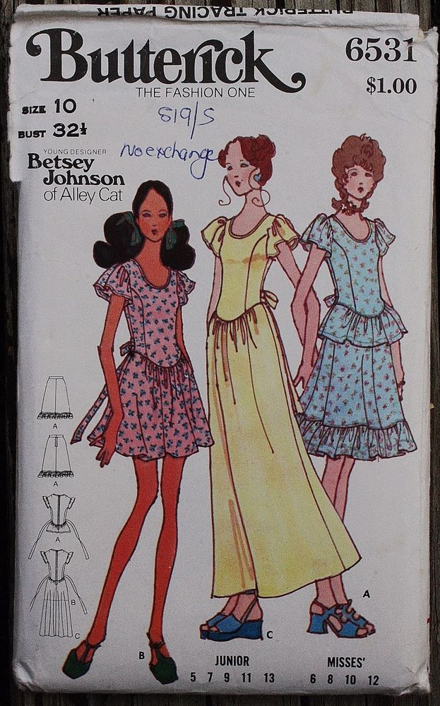 Butterick 6531 Betsey Johnson Alley Cat Sewing Pattern Skirt Young ...