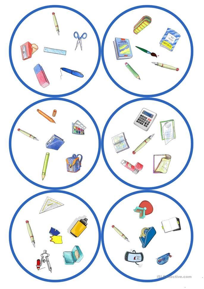 Spiele im Deutschunterricht: Dobble – Schulsachen (31 Karten / 6 Symbole)