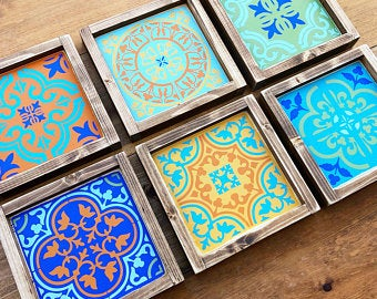 Custom Color Moroccan Tile Wall Art Moroccan Style Wood Sign Etsy Tile Wall Art Etsy Wall Art Moroccan Tile