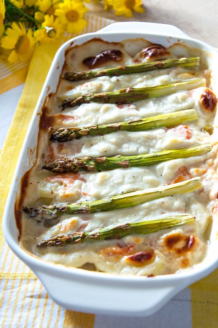 Asparagus Casserole With Salmon Potatoes Recipe Asparagus