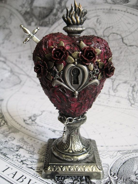 Roses Royale Sacred Heart Sculpture with metal by inthewillows