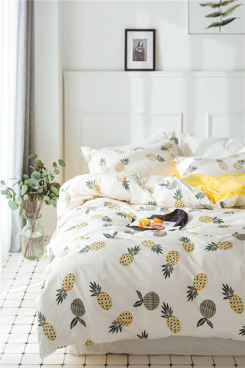 460e5eee6692 100% хлопок стильное постельное белье Dormy с принтом ананасы наволочка  постель простынь домашний декор