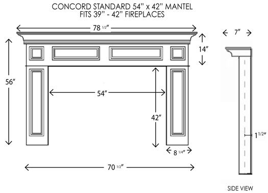 Concord Fireplace Mantel Standard Sizes Fireplace Dimensions
