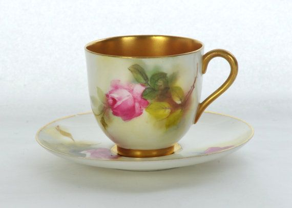 Royal Worcester Rose Painted Teacup & Saucer dated by fkantique, £125.00