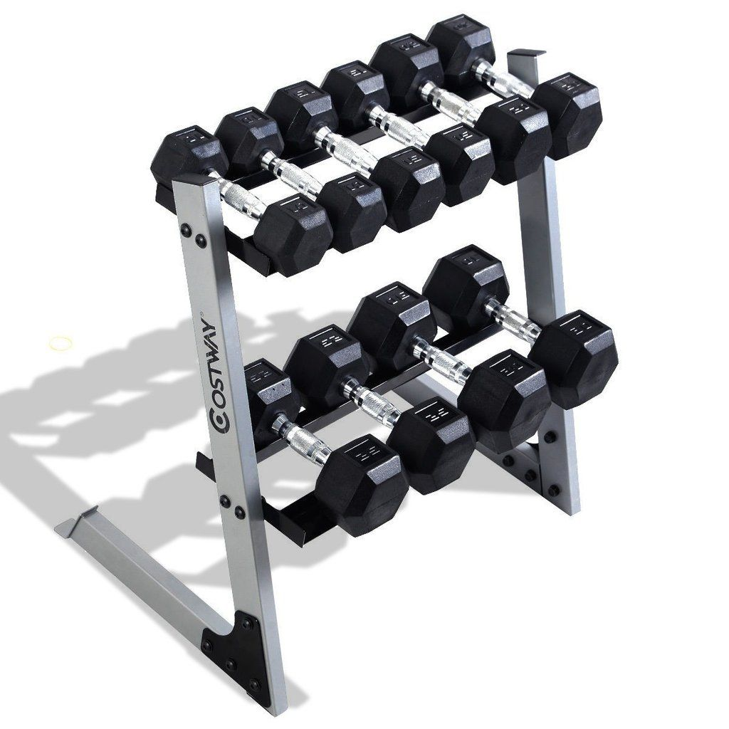 2 Tier 29 Dumbbell Weight Storage Rack Multiple Weights Set