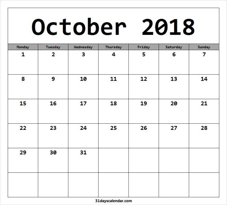 Free October 2018 Monday Start Image Picture For Desktop