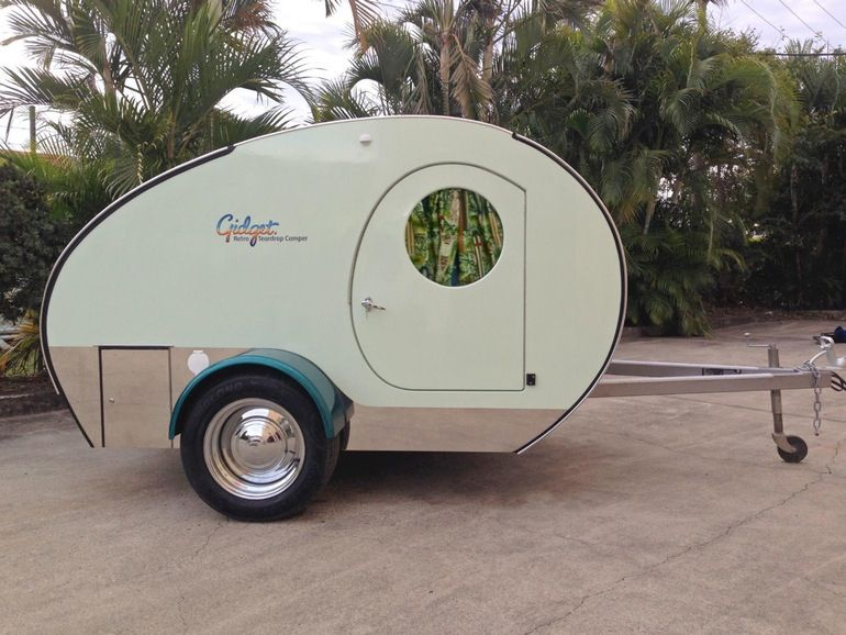 Fidget Teardrop Trailer, Slides Out For Queen Size Bed, Converts To Sofa  For Eating · Gidget Retro ...