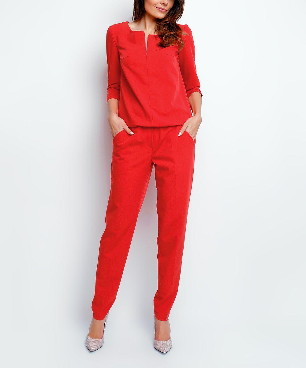 Red Notch Neck Jumpsuit
