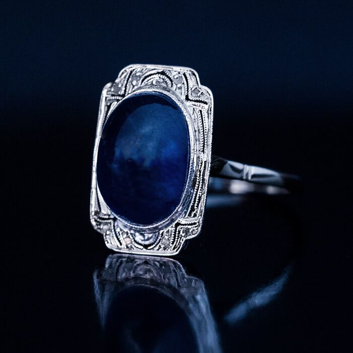 blue antique ring engagement cabochon uquzyuh classy mens diamond rings vintage sapphire