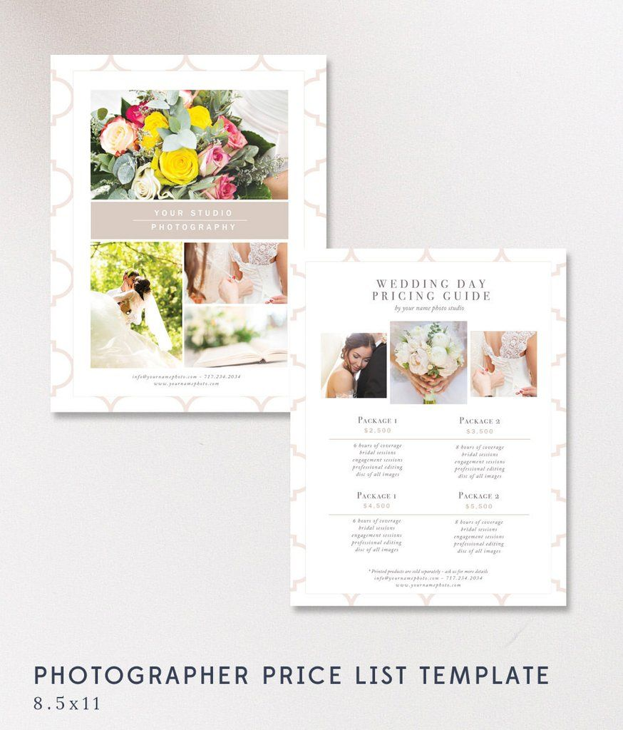 Wedding Price List Template  Photographer Pricing Guides