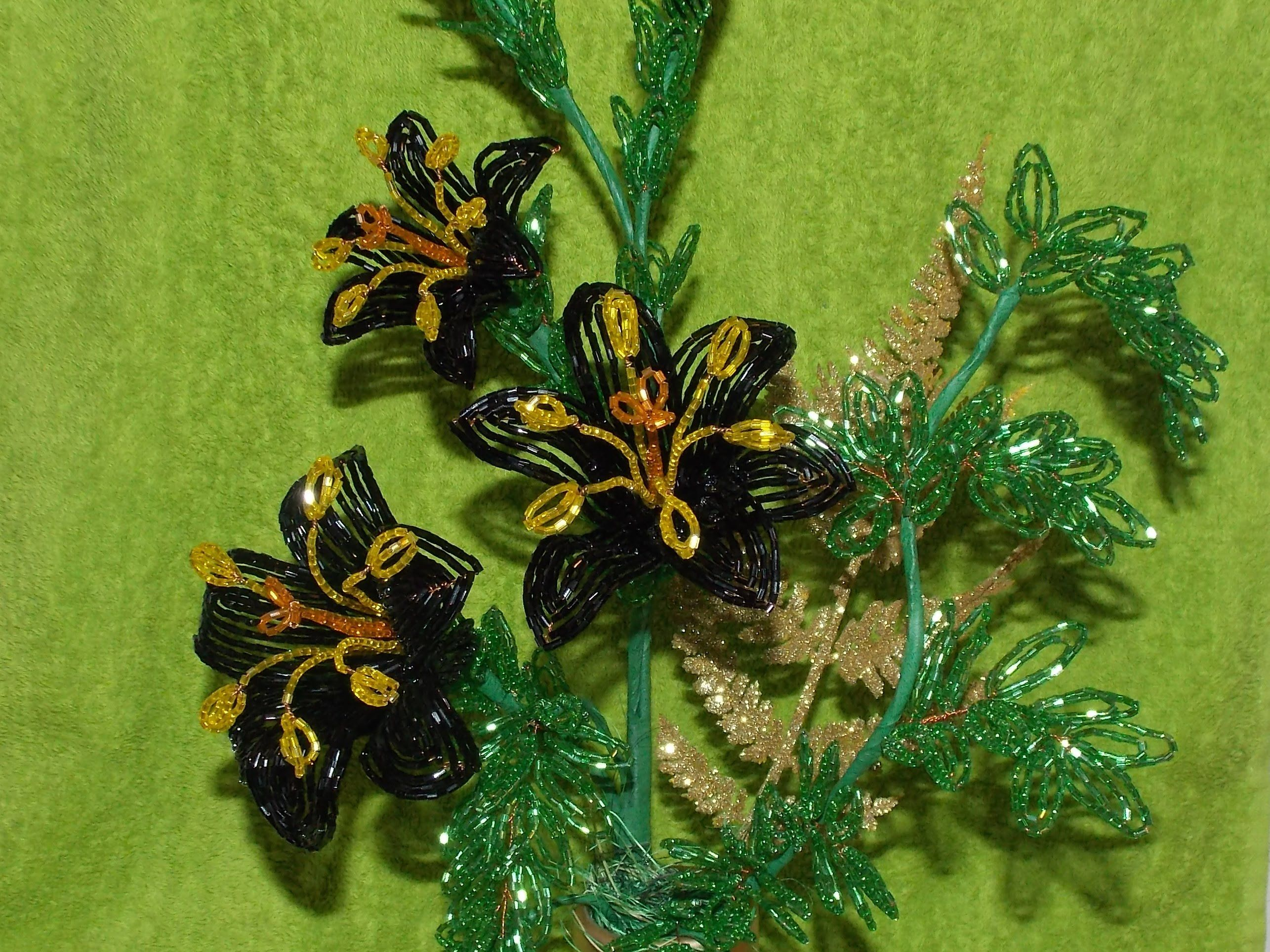 цветок из бисера для новичков схема