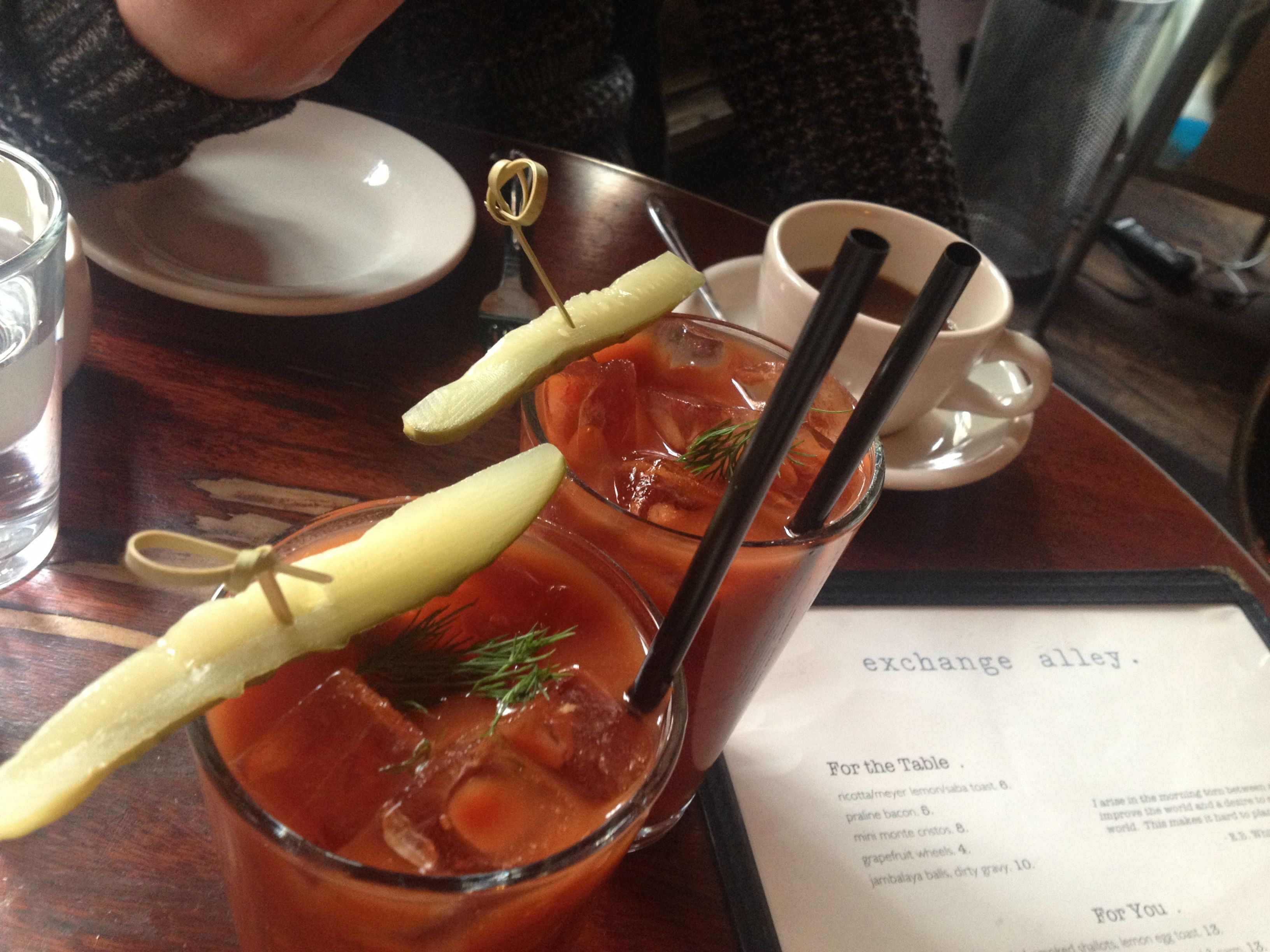 bloody marys. exchange alley. nyc