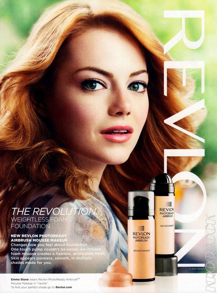 Revlon photoready airbrush mousse makeup advertising pinterest emma stone is extra ordinary in this revlon ad ccuart Image collections