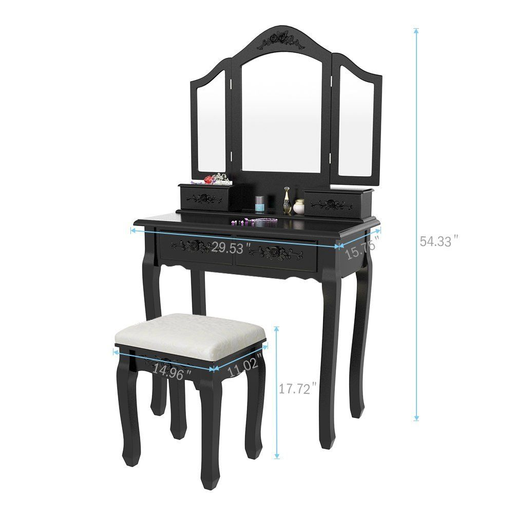 Buy tribesigns wood makeup vanity table set with tri mirror and