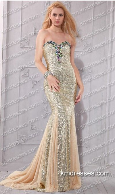sparkly multicolored beaded strapless sweetheart floor-length sequin ...