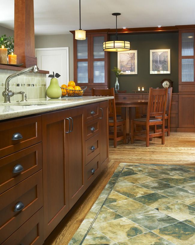 love the idea of this wood floor with a tile inlay in the kitchen patterned kitchen tiles on kitchen remodel floor id=59056