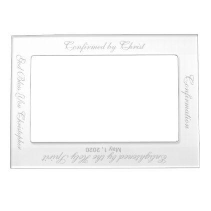 Confirmation White Silver Vertical Magnetic Frame | Magnetic frames ...