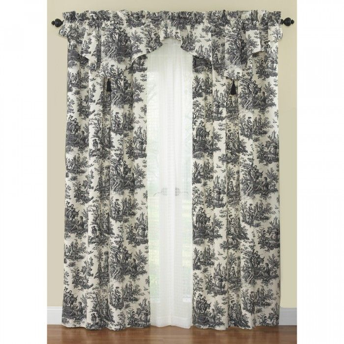 Waverly Country Life Toile Curtain Panel And Ascot Valance Dining Room Curtains