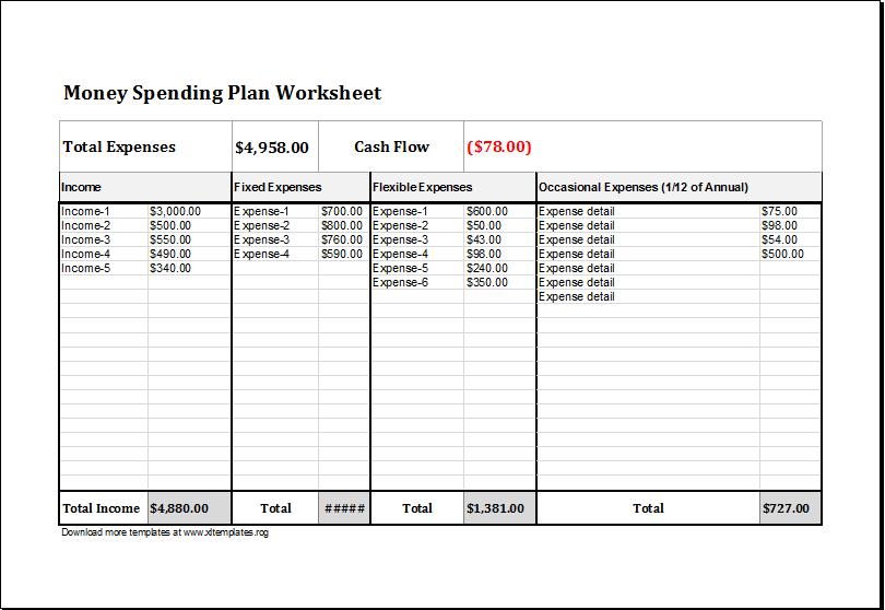 money log sheet template
