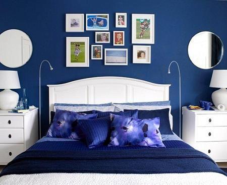 Resultado de imagen de dormitorio matrimonio azul indigo for Cuartos decorados azul