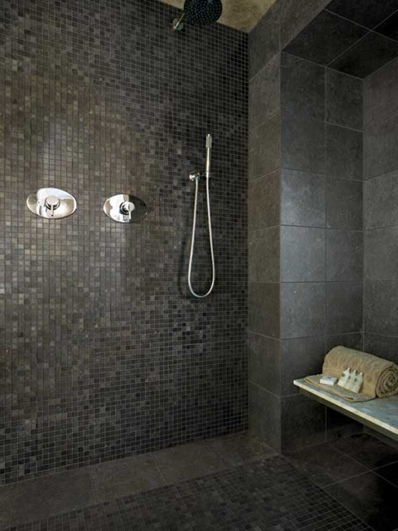 Photo 03 Dark Mosaic Tile For Small Bathroom Jpg 800 1067 Tile Bathroom Small Bathroom Tiles Patterned Bathroom Tiles