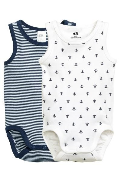 2-pack sleeveless bodysuits - Dark blue - Kids | H&M GB