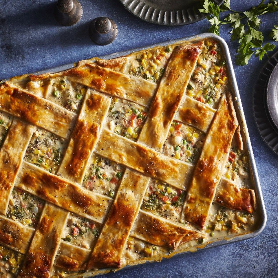 Slab Fruit Pies Are All The Rage For Summer Parties So Why Not Give Classic Chicken Potpie The Same Treat Comfort Food Recipes Dinners Recipes Chicken Pot Pie