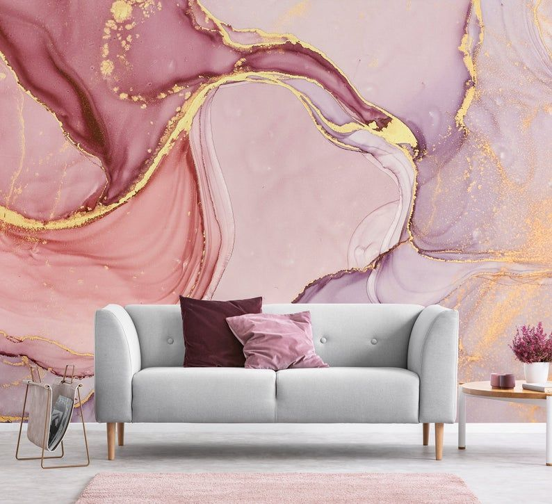 Pink And Lilac Abstract Wallpaper Self Adhesive Peel And Etsy Abstract Wallpaper Wall Murals Decor