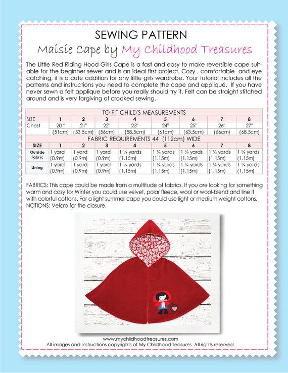 Girls sewing pattern pdf, childrens sewing pattern, Costume, Jacket ...