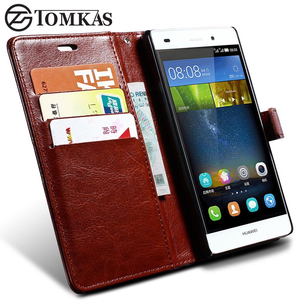 Huawei Ascend P8 Lite Tomkas 지갑 가죽 케이스 플립 커버 Coque 전화 케이스 Huawei P8 Lite 카드 홀더 럭셔리 Leather Case Phone Leather Wallet