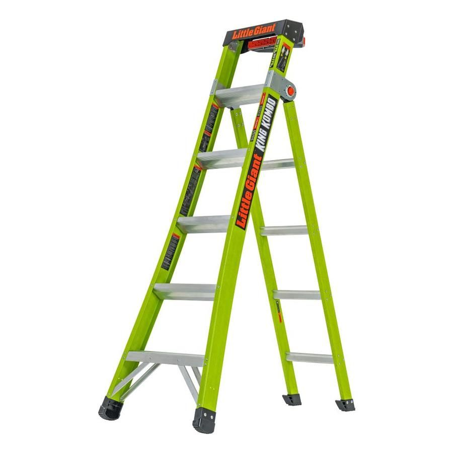 Little Giant Ladders King Kombo Fiberglass 12 7 Ft Reach Type 1aa 375 Lbs Capacity Multi Position Ladder 13610 002 In 2020 Little Giants Ladder Combination Ladders