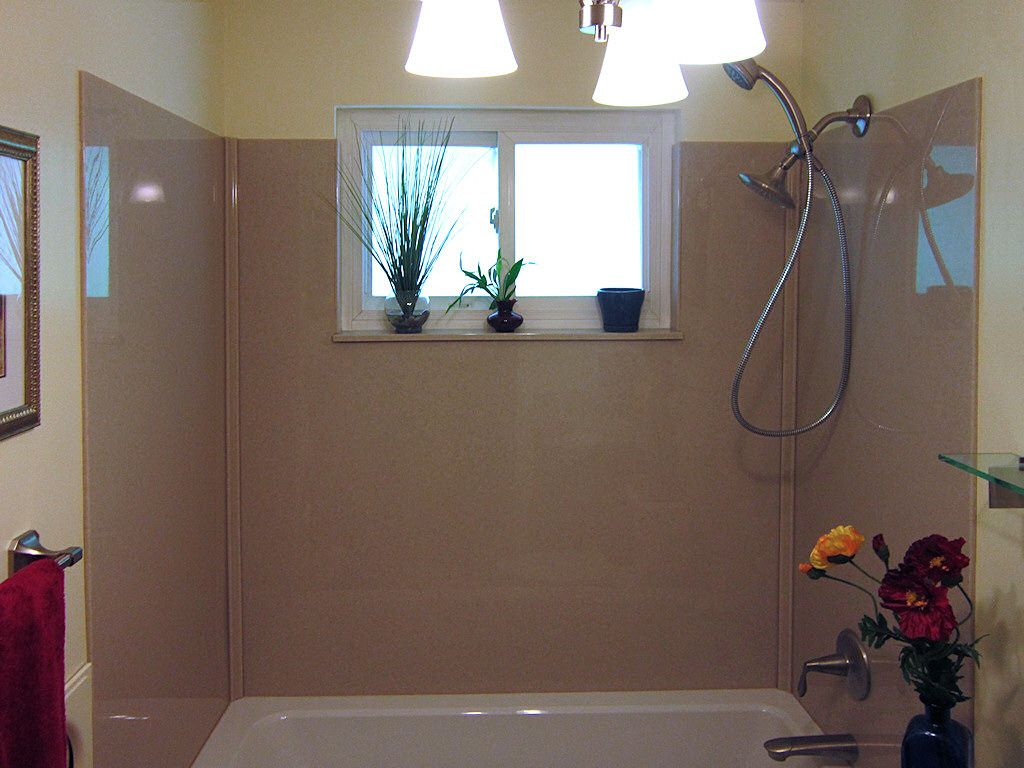 Onyx Shower Tub Surround With Vinyl Window Don T Want To Lose That Window No Problem The Onyx Collection Shower Remodel Bathtub Walls Bathtub Wall Surround