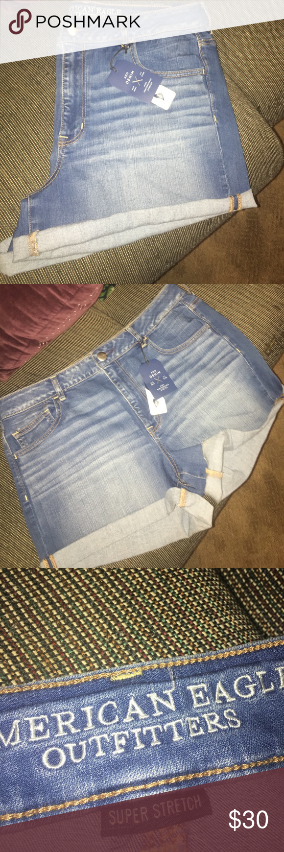 American eagle hi rise shorties Brand new never worn. American Eagle Outfitters Shorts Jean Shorts