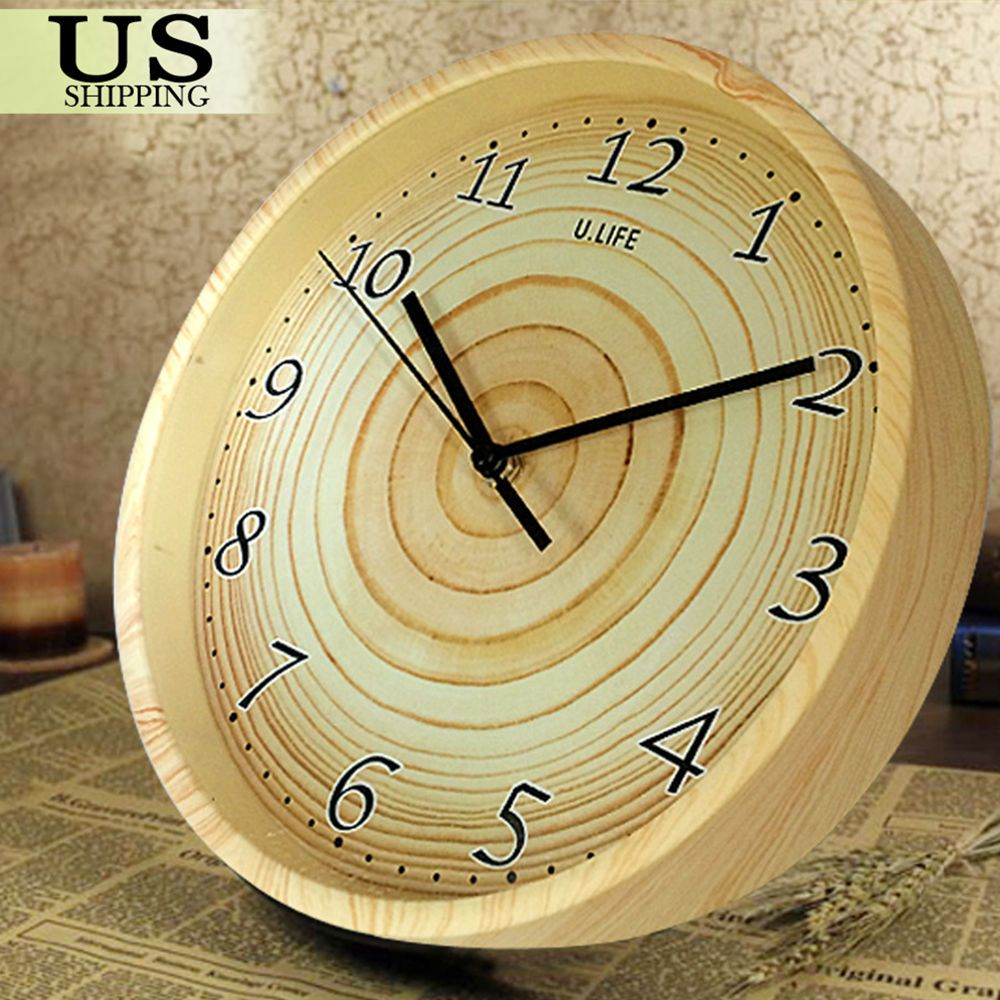 Retro Vintage Decorative Silent Round Wooden Wall Clock Grain Style ...